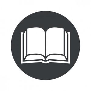 Monochrome round book icon