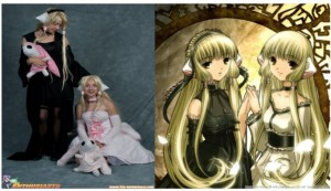 My sister and I cosplaying Freya (in the black) and Chii (in the pink), with a reference picture on the right